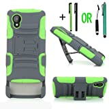 Cellular360 Shock and Drop Proof Dual Layer Case and Belt Clip Holster w/ Two Free Stylus Pens OR W/ One Headphone Jack Stylus and One Stylus Pen for Google Nexus 5 / LG Google Nexus 5 with Sprint and T-Mobile (Shock and Drop Proof - Grey and Green)
