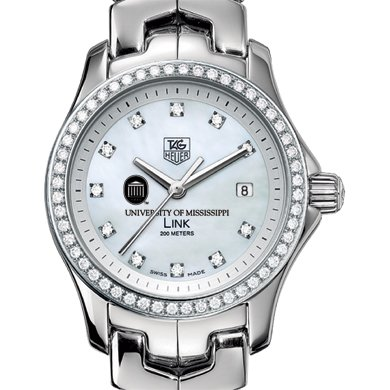 Ole Miss Women's TAG Heuer Link with Diamond Bezel
