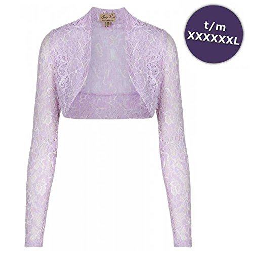 Lace longsleeve shrug with floral pattern lilac purple - XS-S/UK8-10 - Lindy Bop