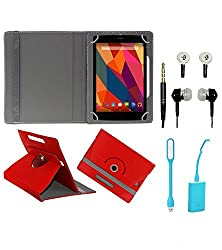 Gadget Decor (TM) PU Leather Rotating 360° Flip Case Cover With Stand For lenovo Idea tab A3000 + Free USB Led Light + Free Handsfree( Without Mic) - Red
