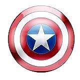BT Captain America Shield Full Metal Handheld Movie Edition Bar Creative Soft Wall Decoration Pendant Aluminum America Men's Props Adult Cosplay Shield (Color: Red, Tamaño: 48cm)