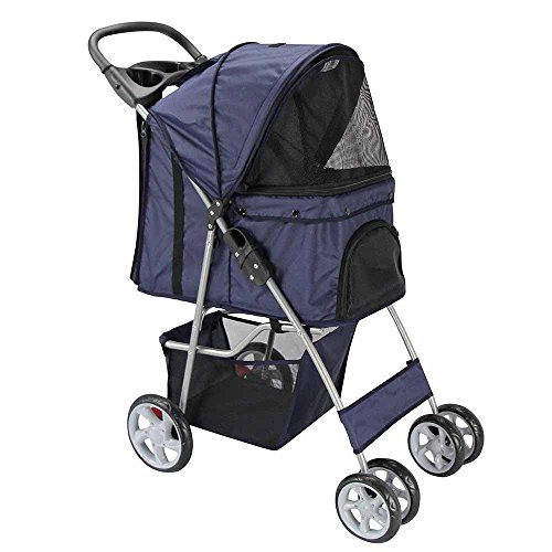 Oxgord Pet Stroller Cat/Dog Easy Walk Folding Travel Carrier Carriage, Navy Blue