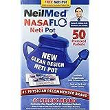 NeilMed NasaFlo Unbreakable Neti Pot with 50 Premixed Packets ~ NeilMed