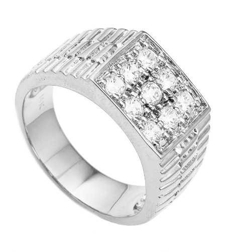 Men's Silvertone CZ Ribbed Square Ring Sizes 10-11 (10)