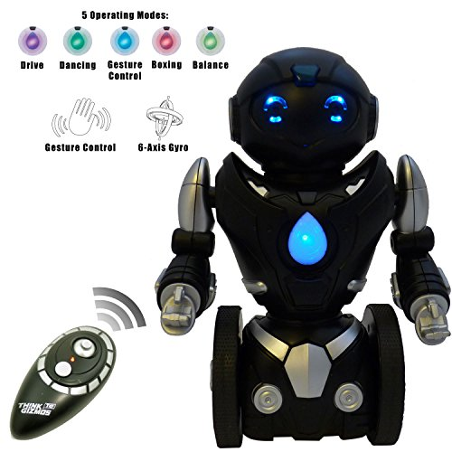Remote Control Toy Robot For Kids TG634-S - Black & Silver Balance Robot (Version 2!!) - Smart Interactive Self-Balancing RC Robot By ThinkGizmos (Trademark Protected) (Robots Toys compare prices)