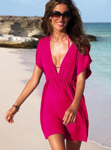 Lingerie Republic Sexy Red Magenta Beach Cover UP Deep V Neck Beach Dress Wrap Sarong Kaftan