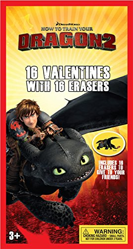 Paper Magic 16CT Erasers How to Train Your Dragon 2 Kids Classroom Valentine Exchange Cards