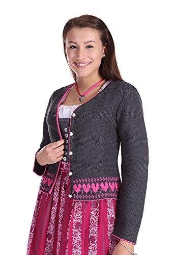 Trachten Deiser Damen Strickjacke D435021 Joy anthrazit fuchsia online bestellen