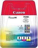 Canon CLI-8 Cartouche d'encre d'origine Pack de 3 Cyan, Magenta, Jaune