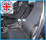 NISSAN NOTE (2006 ON) Black / Red Trim Front Seat Covers - PAIR