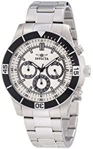 Invicta Specialty Unisex Quartz Watch with Silver Dial Chronograph Display and Silver Stainless Steel Bracelet 12841