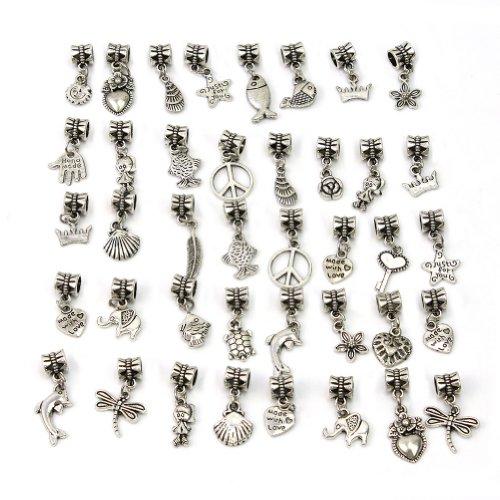 40pcs-mode-argent-tibetain-metal-perles-collier-bracelet-bijoux-diy-pandora-intercalaires-breloque-c