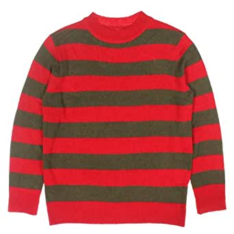 Red And Olive Green Striped Sweater Size : Small