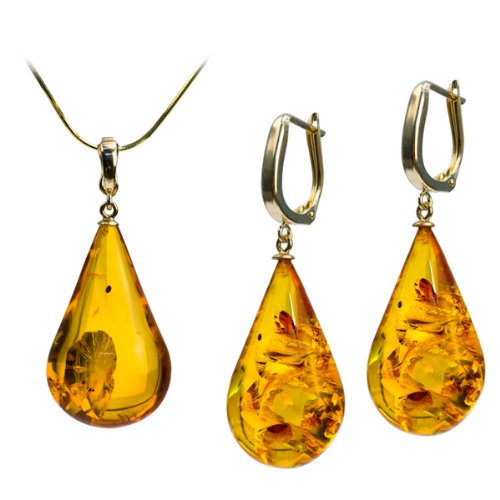14k Gold Light Amber Drop Pendant And Earrings Set Box Gold Chain 18 Inches