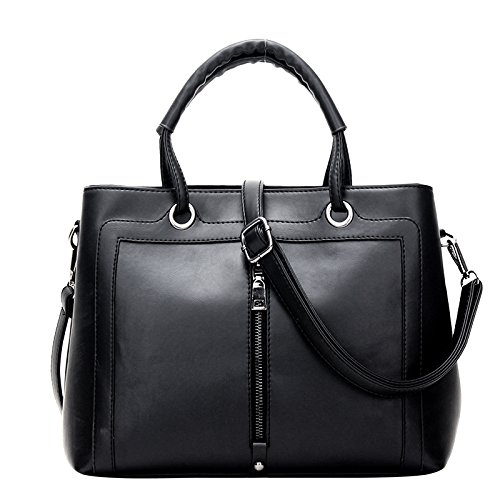 koson-man-womens-new-style-frosted-leather-zipper-charming-tote-bags-shoulder-bagsblack