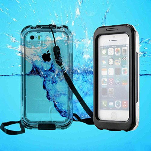 Pioneer Tech® Capture Armor Universal Waterproof Durable Shockproof Dirt Proof Silicon Touch Screen Case With Strap For Apple Iphone 4/4S/5/5S (Black)