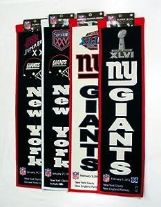 New York Giants SUPER BOWL XXI XXV XLII XLVI Championship 8x32 Wool Banner SET by Winning Streak