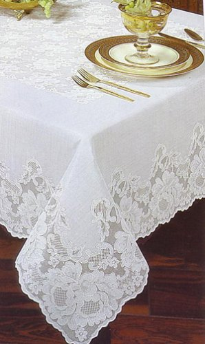 Princess Lace 60x90 Oblong White Vinyl Tablecloth - Buy Princess Lace 60x90 Oblong White Vinyl Tablecloth - Purchase Princess Lace 60x90 Oblong White Vinyl Tablecloth (Elrene, Home & Garden, Categories, Kitchen & Dining, Kitchen & Table Linens, Tablecloths)