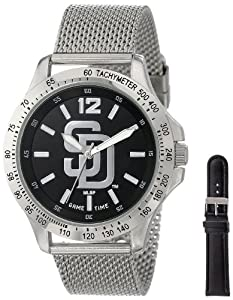 Game Time Mens MLB-CAG-SD Cage MLB Series San Diego Padres 3-Hand Analog Watch by Game Time
