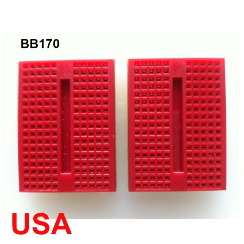 UDIYKITS. 2pcs RED MINI BB170 TIE POINTS SOLDERLESS BREADBOARD FOR ARDUINO