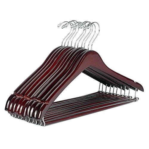 LOHAS Home 10-Pack Wooden Coat Hangers, Beautiful Sturdy Wood Suit Hangers with Locking Bar, Walnut Finish (Suit Hanger With Locking Bar compare prices)