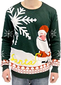 Ugly Christmas Sweater Happy Santa Claus Peeing in Snow Adult Sweater
