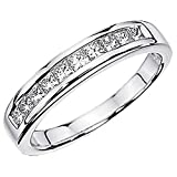 Image of 0.50 Carat (ctw) 14K White Gold Princess White Diamond Anniversary Wedding Stackable Ring Band 1/2 CT (Size 6.5)