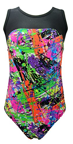 Girls Gymnastics Leotard - Tank with Keyhole (Paint Splatter Foil, Youth 14-16)