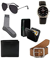 Combo of brown socks,belt,watch,sunglass,wallet and cardholder gift set for boyfriend pack of 6