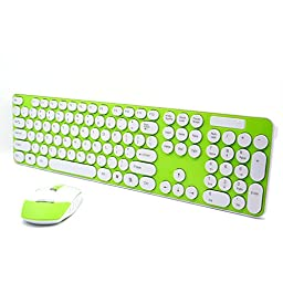 SROCKER Ultra Thin 2.4GHz Wireless Silent Click Keyboard and Mouse Combo Chocolate Keys with Nano USB Receiver for Windows 2000, Windows XP, Windows Vista, Windows 7, Windows 8, PC, Laptop (Green)