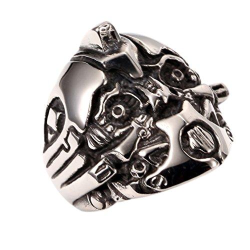 Vintage Transformer Bumblebee Mens Boys Stainless Steel Biker Ring Size 7-13
