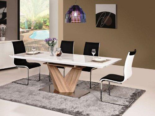 Essgruppe-Tisch-6-Sthle-Hochglanz-Wei-Esstisch-Alaras-90x160x75-ausziehbar-auf-220cm-Sulentisch-Sonoma-Eiche-Holz