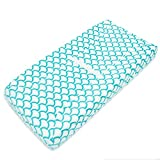 American Baby Company Heavenly Soft Chenille Fitted Contoured Changing Pad Cover, Aqua Sea Wave
