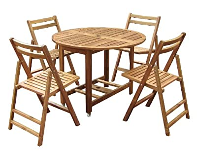 Folding Round Dining Table Set