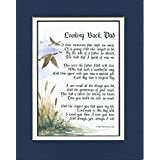 Looking Back Dad Touching 8x10 Poem Double-matted In Navy/ Blue And Enhanced With Watercolor Graphics. A Gift...