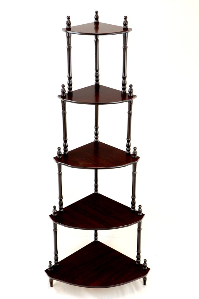 Frenchi Furniture Cherry 5 Tier Corner Stand Shelf Decor Decoration Office Home