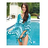 Mud Pie Women's Fashion Resort Wear Seabreeze Poncho Various Blues (Turquoise)