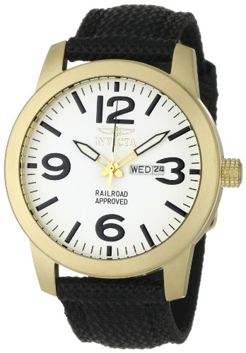 Invicta Men's Special Edition Black Canvas 18k Gold Plated Stainless Steel Day Date Watch 1049