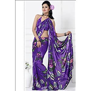 Violet Printed Casual and Party Faux Georgette Saree