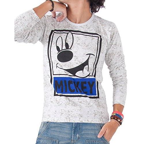 (ジーパッシオ) G-passioミッキーコラボ霜降りTシャツ 長そで メンズ ミッキーマウス L BOffWhite