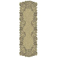 Heritage Lace Leaf 20-Inch by 60-Inch Mantle Runner, Earth