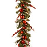 National Tree Decorative Collection Christmas Red Mixed Garland - 9-Feetx12-Inch