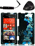 Mobile accessories HTC 8X (GSM) Blue Flower Case Cover Protector Design Snap on Hard Shell Faceplate AND HiShop(TM) Stylus, Guitar Pick/Pry Tool
