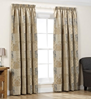 Patch Jacquard Pencil Pleat Lined Curtains