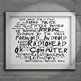 `Noir Paranoiac` Art Print - RADIOHEAD - OK Computer - Signed & Numbered Limited Edition Typography Unframed 10x8 Inch Album Wall Art Print - Song Lyrics Mini Poster