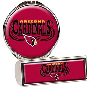 NFL Arizona Cardinals Lipstick Case and Compact Mirror Set, Silver