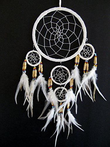 Dream Catcher Traditional SUEDE White Color With Feathers & Beads, 7