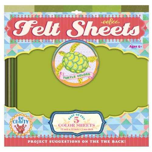 eeBoo Green Turtle Colors Felt Sheets