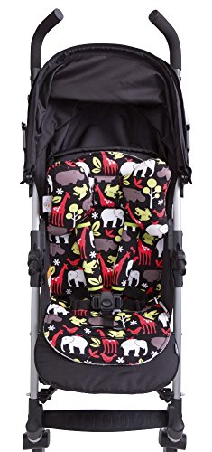 Baby Elephant Ears 3 Piece Stroller Set ~ Seat Liner, Support Pillow & Strap Covers (Zoology Red)