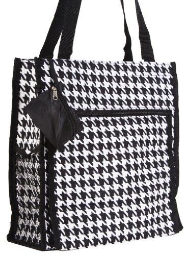 World Travler Black Houndstooth Travel Tote Bag 12-inch